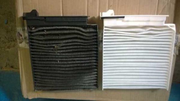 Сравнение нового и отработанного салонного фильтра Дастер