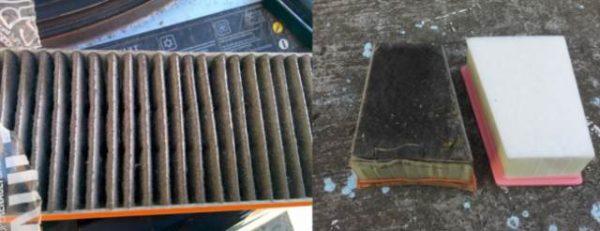 Загрязненный фильтрующий элемент Duster